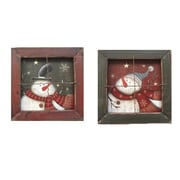 Craft Outlet Hanging Snowman Window (Set of 2); 7.25'' H x 7.25'' W x 2'' D