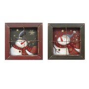 Craft Outlet 2 Piece Hanging Snowman Window Picture Frame Set (Set of 2); 5.5'' H x 5.5'' W x 2'' D