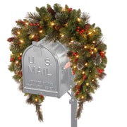 National Tree Co. Crestwood Spruce Pre-Lit Mailbox Cover with 50 Battery-Operated White LED Lights