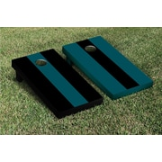 Victory Tailgate Striped Alternating No Stripe Cornhole Boards Game Set; Midnight Green / Black