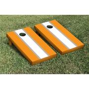 Victory Tailgate Striped Matching Version 2 Cornhole Boards Game Set; White / Burnt Orange
