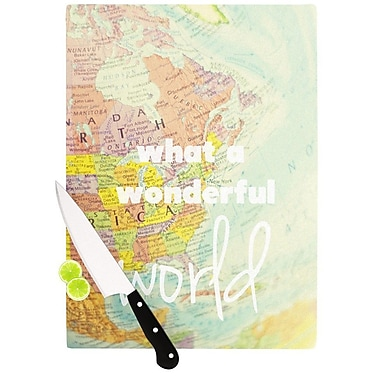 KESS InHouse What A Wonderful World Cutting Board; 8.25'' H x 11.5'' W x 0.25'' D