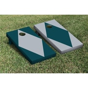 Victory Tailgate Diamond Alternating No Stripe Cornhole Boards Game Set; Gray / Midnight Green