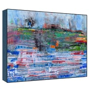 Green Leaf Art Landscape View Wall Art on Wood in Blue