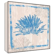 Green Leaf Art Coral Textual  Wall Art on Wood in Blue