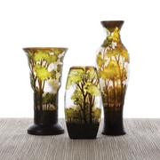Twos Company 3 Piece Landscapes Hand-Etched Vase Set