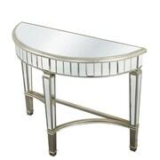 Elegant Lighting Florentine Half Moon Console Table; Silver & Clear Mirror