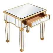 Elegant Lighting Florentine End Table; Gold & Clear Mirror