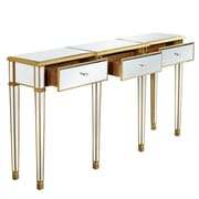 Elegant Lighting Florentine 3 Drawer Console Table; Gold & Clear Mirror