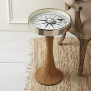 Twos Company Working Compass Accent Table w/ Rope Base