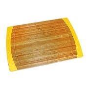 Lipper International Bamboo and Silicone Non-Slip Cutting Board; Yellow
