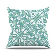 KESS InHouse Swirling Tiles Teal Throw Pillow; 18'' H x 18'' W