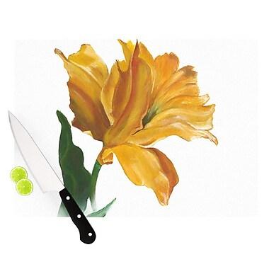 KESS InHouse Yellow Tulip Cutting Board; 8.25'' H x 11.5'' W x 0.25'' D