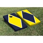 Victory Tailgate Diamond Alternating Cornhole Boards Game Set; Bright Yellow / Navy Blue
