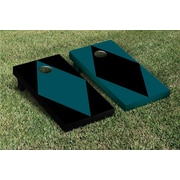 Victory Tailgate Diamond Alternating No Stripe Cornhole Boards Game Set; Midnight Green / Black