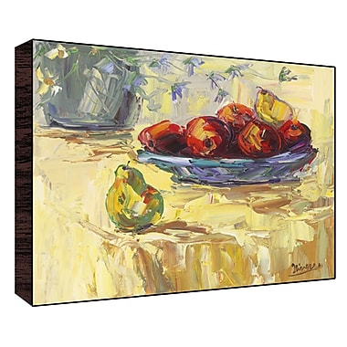 Green Leaf Art Fruits on Table I Painting Print