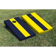 Victory Tailgate Striped Alternating No Stripe Cornhole Boards Game Set; Bright Yellow / Navy Blue