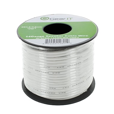 GearIT 100' High Quality 14AWG Speaker Wire Cable, White