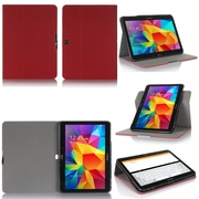 """GearIT Spinner G10TAB4360SPNRD Twill Fabric Folio Case for 10.1"""" Galaxy Tab 4, Red"""