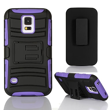 GearIT High Impact Hybrid Armor Case Cover With Stand Holster For Samsung Galaxy S5, Purple