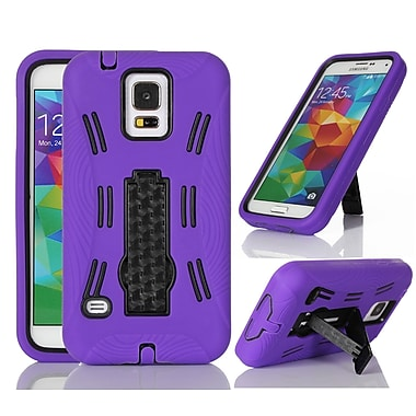 GearIT Rugged High Impact Hybrid Armor Case Cover With Stand For Samsung Galaxy S5, Black