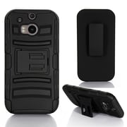 GearIT HTC One M8 Hybrid Armor Dual Layer Cover Stand with Holster, Black