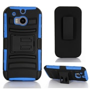 GearIT High Impact Hybrid Armor Dual Layer Case Cover With Stand Holster For HTC One M8, Blue