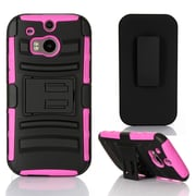 GearIT HTC One M8 Hybrid Armor Dual Layer Cover Stand with Holster, Magenta