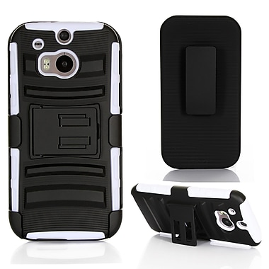 GearIT High Impact Hybrid Armor Dual Layer Case Cover With Stand Holster For HTC One M8, White