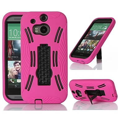 GearIT Rugged High Impact Hybrid Armor Case Cover With Stand For HTC One M8, Magenta