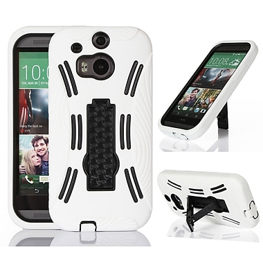 GearIT Rugged High Impact Hybrid Armor Case Cover With Stand For HTC One M8, White