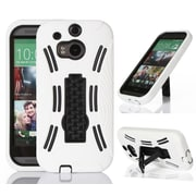 GearIT HTC One M8 High Impact Hybrid Armor Case Cover, White