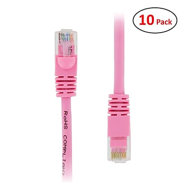 PCMS 2' RJ-45 Male/Male Cat6E UTP Ethernet Network Patch Cable, Pink, 10/Pack