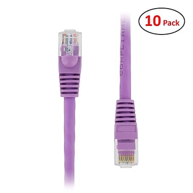PCMS 10' RJ-45 Male/Male Cat5E UTP Ethernet Network Patch Cable, Purple, 10/Pack