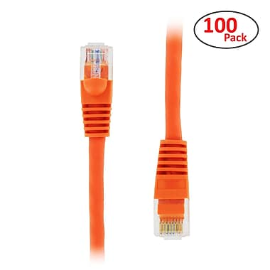 PCMS 1' RJ-45 Male/Male Cat5E UTP Ethernet Network Patch Cable, Orange, 100/Pack