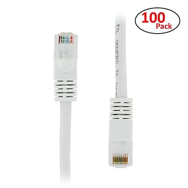PCMS 1' RJ-45 Male/Male Cat5E UTP Ethernet Network Patch Cable, White, 100/Pack