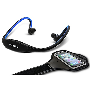 Aduro Sport Wireless Stereo Bluetooth Headset & Armband, Blue