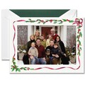 Crane & Co. Boxed Holiday Photo Mount Greeting Card, Holly and Ribbon Frame, 10 Envelopes/Box