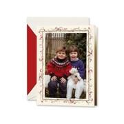 Crane & Co. Hand Engraved Greeting Card, Holly Frame Photo, 10 Envelopes/Box