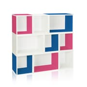 Way Basics Eco Stackable Oxford Modular Bookcase and Storage Shelf, Blue/Pink/White