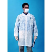 Keystone LC3-WO-NW-LG Single Collar White Disposable Lab Coat, Large