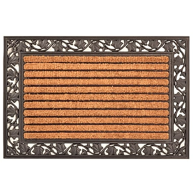 HomeTrax Designs Leaf Cocoa Natural Coir Fiber Door Mat 36