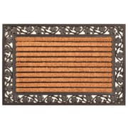 "HomeTrax Designs Leaf Cocoa Natural Coir Fiber Door Mat 36"" x 24"", Brown"