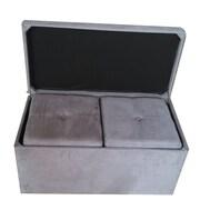 Hodedah 3 Piece Storage Ottoman Set; Grey