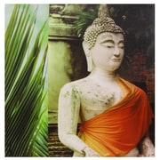 Oriental Furniture Orange Draped Buddha Photographic Print on Wrapped Canvas