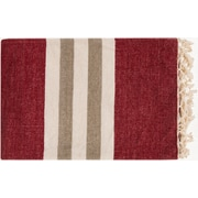 "Surya TOY7003-5070 50"" x 70"" 100% Cotton Throw, Burgundy, Ivory, Light Gray"
