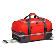 "High Sierra Nylon Wheeled Duffel Bag 28"" x 14"", Red, Mercury & Ash"