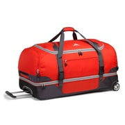 "High Sierra Nylon & Polyester Drop Bottom Wheeled Duffel 34"" x 17.5"", Red, Mercury & Ash"