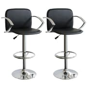 "Buffalo Tools AmeriHome 15"" Vinyl Adjustable Height 2 Piece Bar Stool Set, Black"