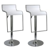 "Buffalo Tools AmeriHome 36"" ABS Plastic Adjustable Height 2 Piece Bar Stool Set, White"